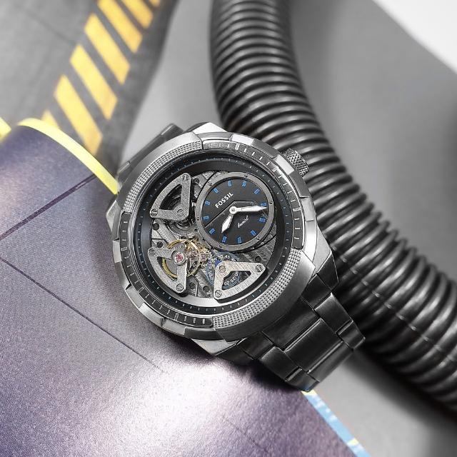 【FOSSIL】復古潮流 機械錶 自動上鍊 鏤空錶盤 不鏽鋼手錶 鍍灰 50mm(ME1171)
