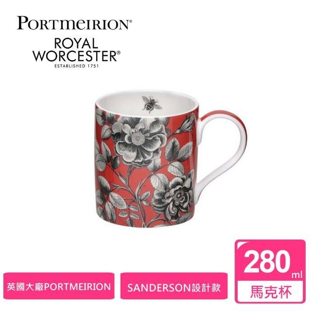 【Portmeirion 波特玫琳恩】Sanderson桑德森設計款280ML馬克杯-紅(Royal Worcester骨瓷杯)