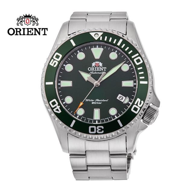 【ORIENT 東方錶】ORIENT 東方錶 WATER RESISTANT系列 200m水鬼潛水錶 鋼帶款 綠水鬼 - 43.4mm(RA-AC0K02E)