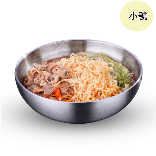【PUSH!】餐具304不銹鋼碗加厚雙層隔熱湯碗沙拉碗碗泡麵(碗小號E164)
