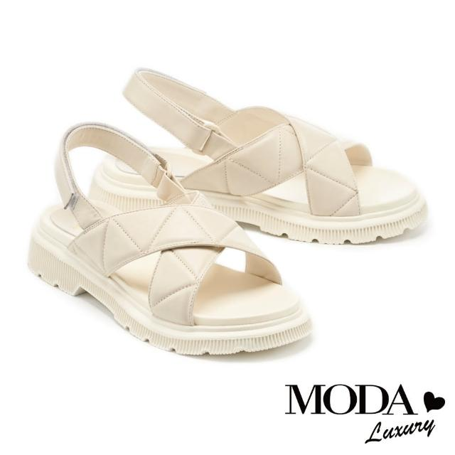 【MODA Luxury】量感時髦羊皮魔鬼氈後繫帶厚底涼鞋(白)