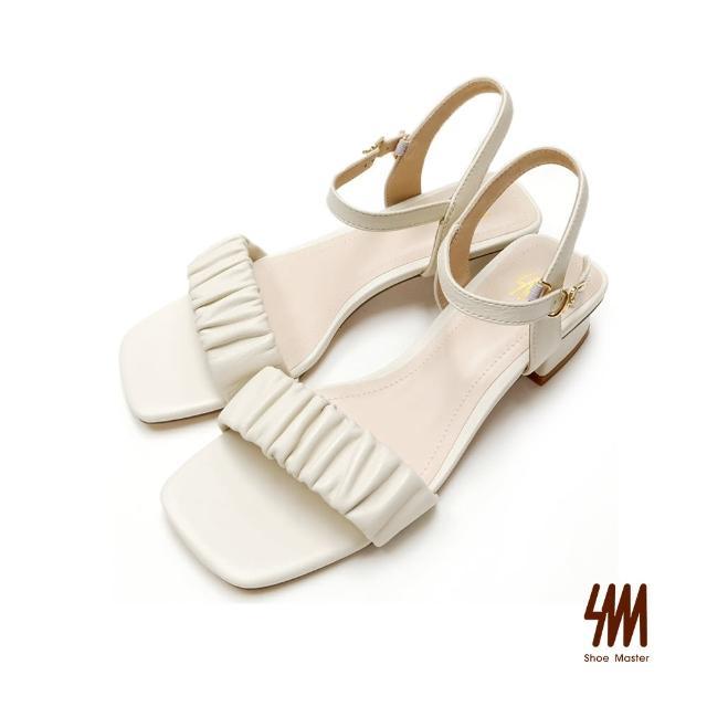 【SM】真皮氣質皺褶顯瘦涼鞋(米白色)