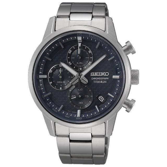 【SEIKO 精工】CS鈦金屬三眼計時紳士手錶-41.6mm(SSB387P1/8T67-00N0B)