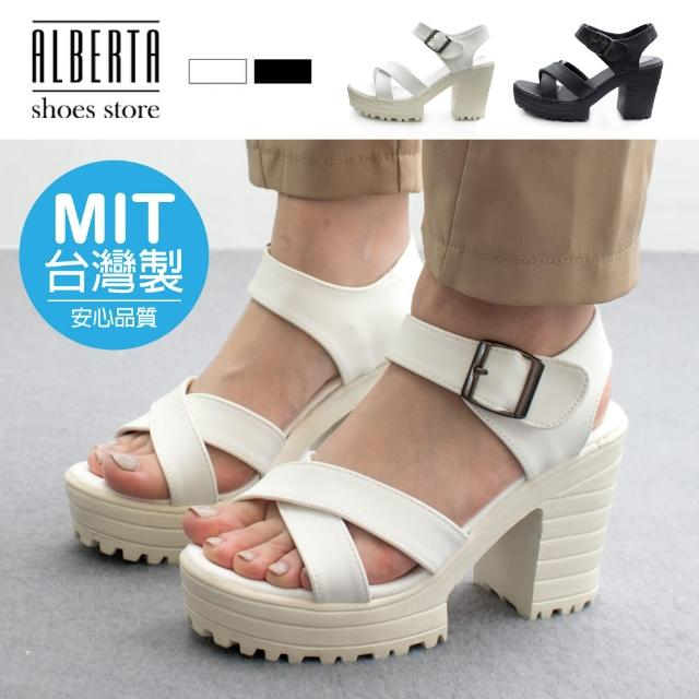 【Alberta】MIT台灣製 前3.5後9.5cm涼鞋 優雅氣質交叉寬帶 皮革圓頭粗跟扣帶涼拖鞋 高跟涼鞋