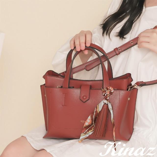 【KINAZ】附手拿包印花絲巾流蘇吊飾多層手提斜背包-西柚棗紅-森林之行系列