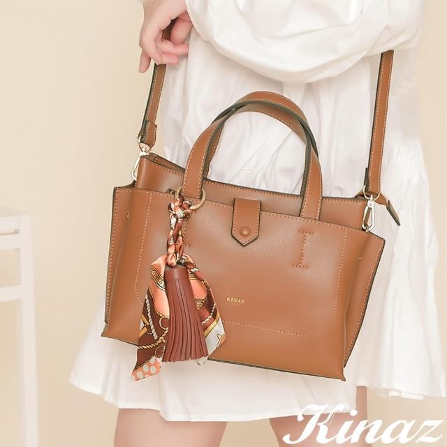 【KINAZ】附手拿包印花絲巾流蘇吊飾多層手提斜背包-甜棕楓糖-森林之行系列