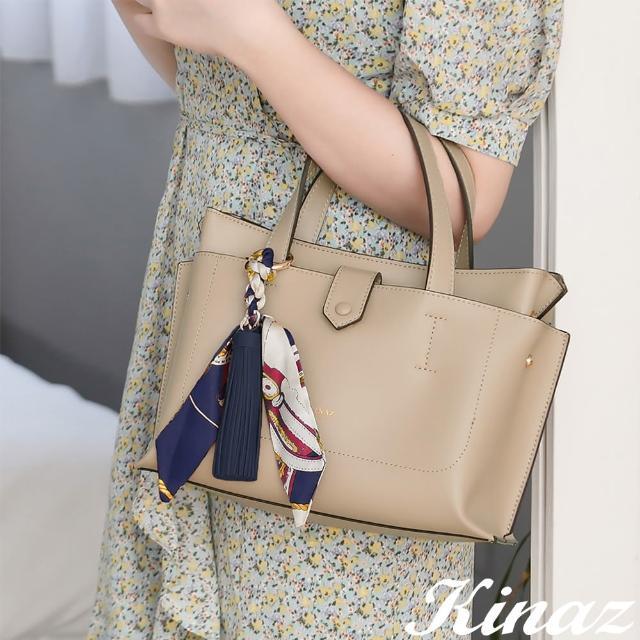 【KINAZ】附手拿包印花絲巾流蘇吊飾多層手提斜背包-暖沙卡其-森林之行系列