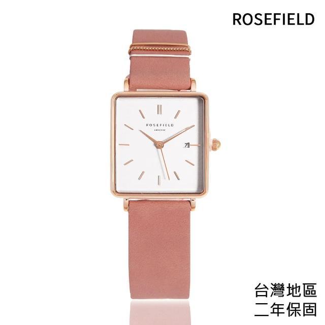 【ROSEFIELD】簡約方形 白面 玫瑰金 粉紅色皮革錶帶(QOPRG-Q026)