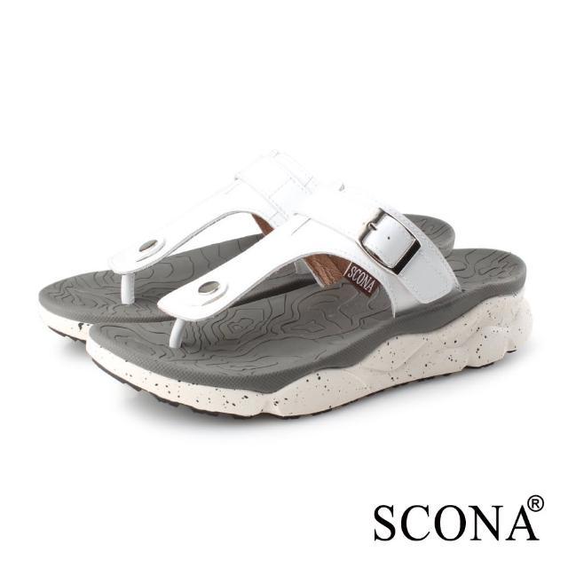 【SCONA 蘇格南】真皮 運動休閒舒適夾腳涼鞋-男款(白色 1751-3)
