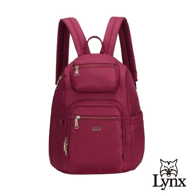 【Lynx】美國山貓輕量尼龍布包多隔層機能後背包 手提/雙肩(紅色)