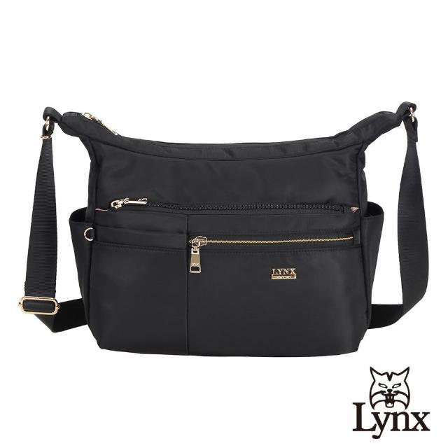 【Lynx】美國山貓輕量尼龍布包多隔層機能斜背包(黑色)