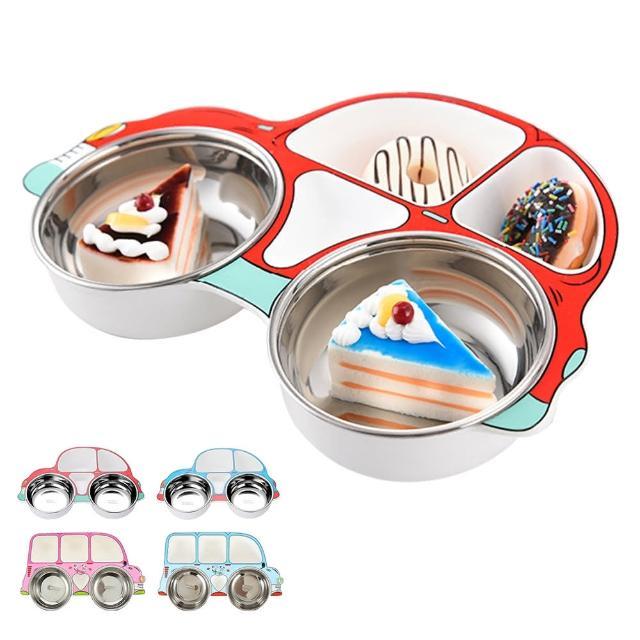 【JoyNa】學習餐具 分隔餐盤附304不鏽鋼碗餐具組(兒童餐具.汽車造型.多分隔)