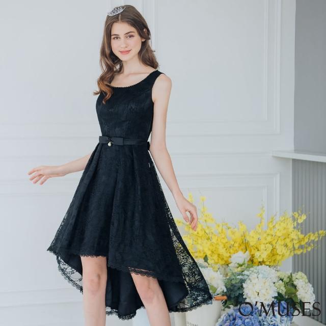 【OMUSES】珍珠蕾絲前短後長黑色禮服A18-2023(S-2L)