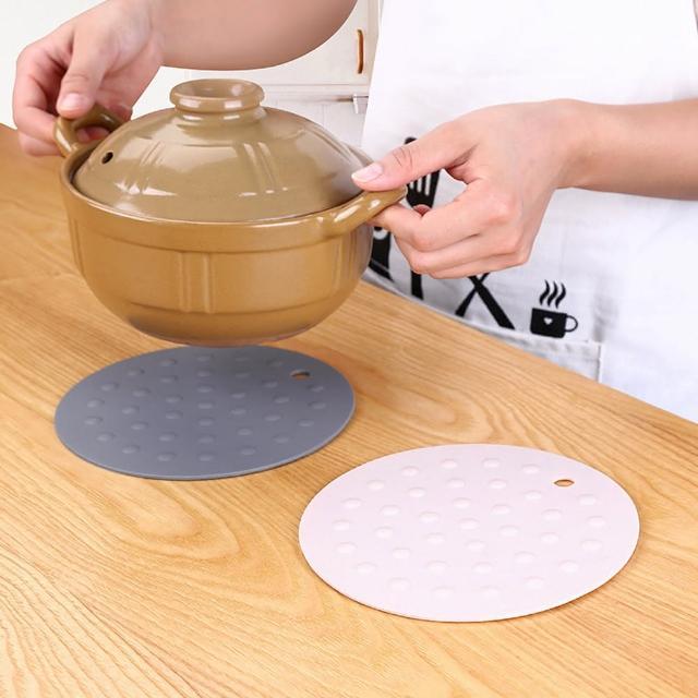 【PUSH!】廚房用品圓形加厚矽膠隔熱墊防燙墊(3入D144)