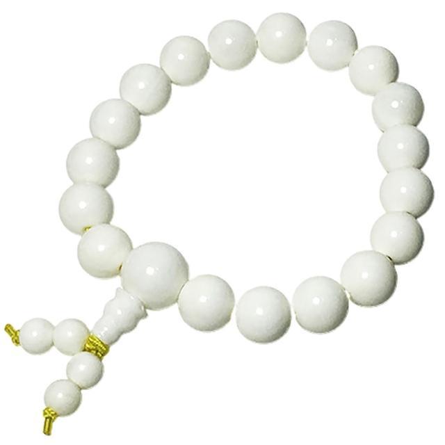 【十方佛教文物】純白硨磲手珠 18顆10mm