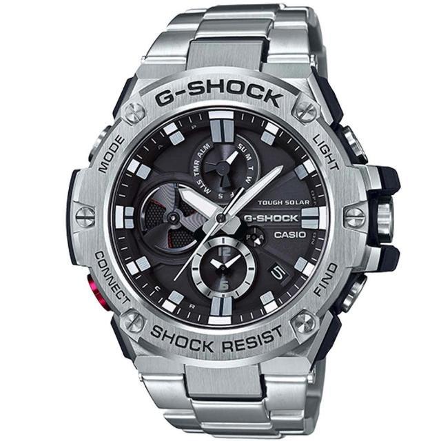 【CASIO 卡西歐】G-SHOCK 絕對磅礡三針三眼藍芽不鏽鋼錶(GST-B100D-1A)