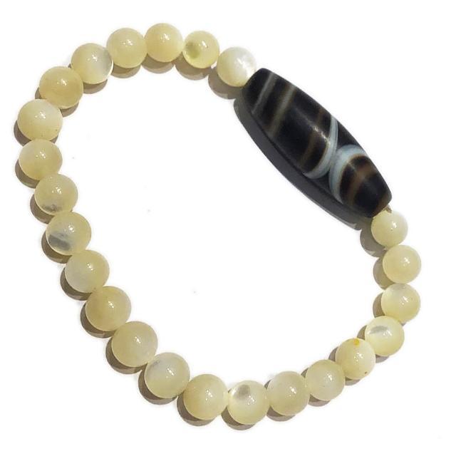 【十方佛教文物】藥師珠天珠+珍珠貝手珠6mm(大悲咒加持108遍以上)