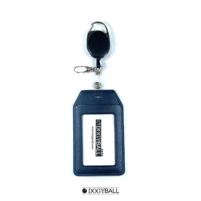 【DOGYBALL】可伸縮兩用皮飾行李包吊牌固定式識別證 海洋藍(環保皮革可放悠遊卡信用卡通行證名片)