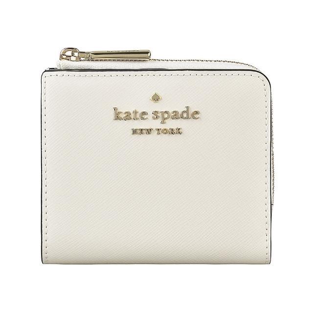 【KATE SPADE】Kate Spade STACI金字LOGO十字紋牛皮6卡扣式短夾(象牙白)