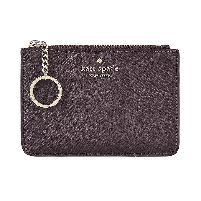 【KATE SPADE】Kate Spade LAUREL WAY BITSY銀字LOGO PVC4卡鑰匙圈拉鍊零錢卡夾(深櫻桃紅)