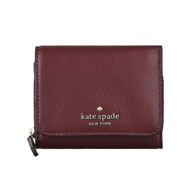 【KATE SPADE】Kate Spade JACKSON金字LOGO荔枝紋牛皮8卡扣式三折短夾(櫻桃紅)