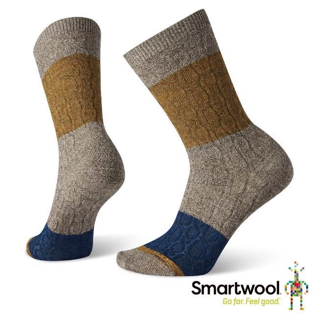 【SmartWool】女 撞色纜紋中長襪(灰褐)