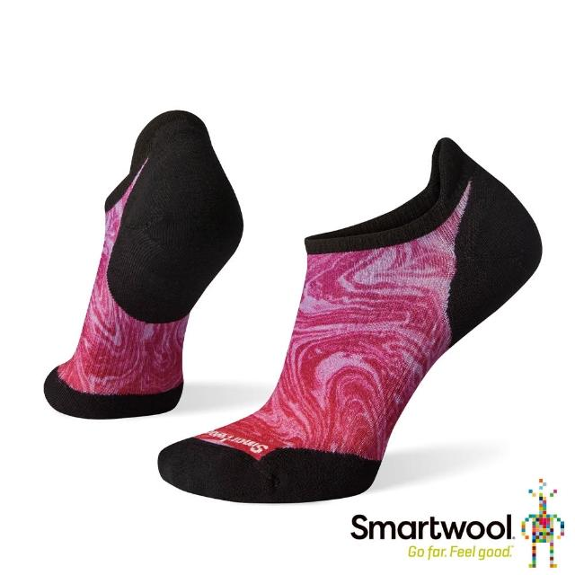 【SmartWool】女 PhD輕量菁英減震型跑步PRINT踝襪(粉霧紫)
