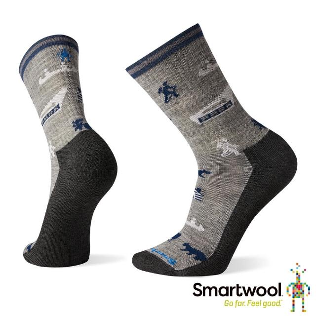 【SmartWool】輕型徒步印花中長襪-國家公園(淺灰)