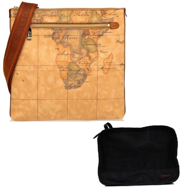 【Alviero Martini】義大利地圖包 限量福袋組 斜側背包+旅行收納小包(地圖黃)