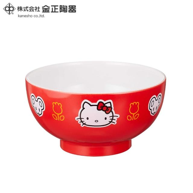 【HELLO KITTY】日本金正陶器 HELLO KITTY紅色彩繪碗3入組(日本製 日本原裝進口)