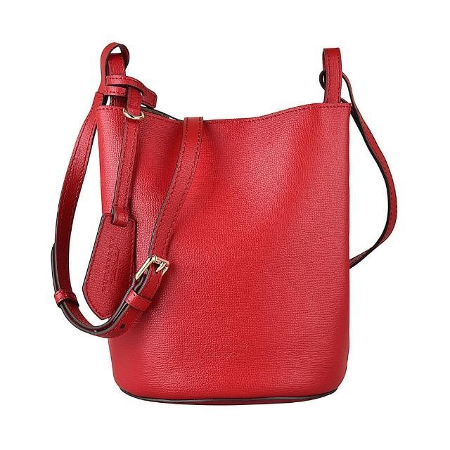 【BURBERRY 巴寶莉】BURBERRY Haymarke 壓印LOGO小牛皮磁釦式手提斜背水桶包(紅)