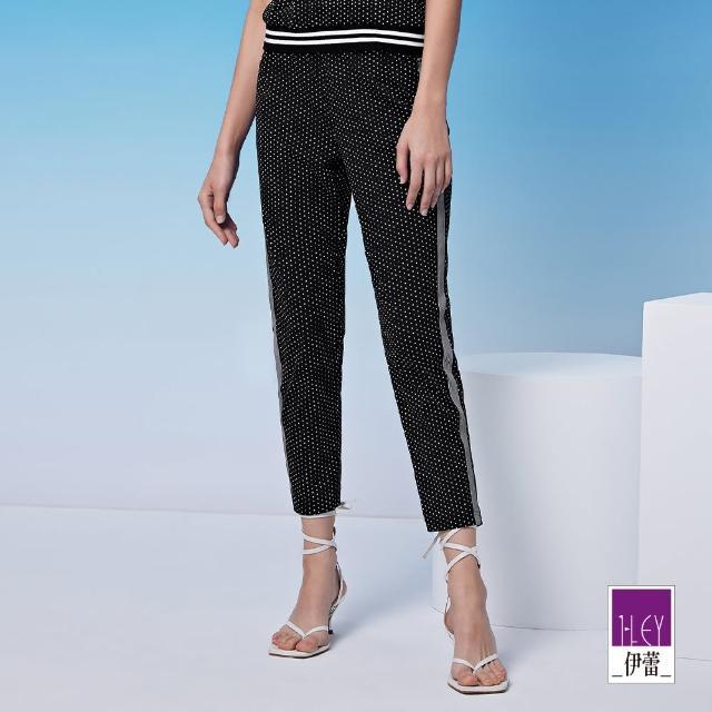 【ILEY 伊蕾】百搭點點造型彈性高含棉休閒褲1212076361(黑)