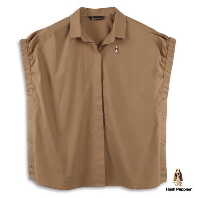 【Hush Puppies】女裝鬆緊袖口側排鈕釦造型襯衫(深卡其 /13212101)
