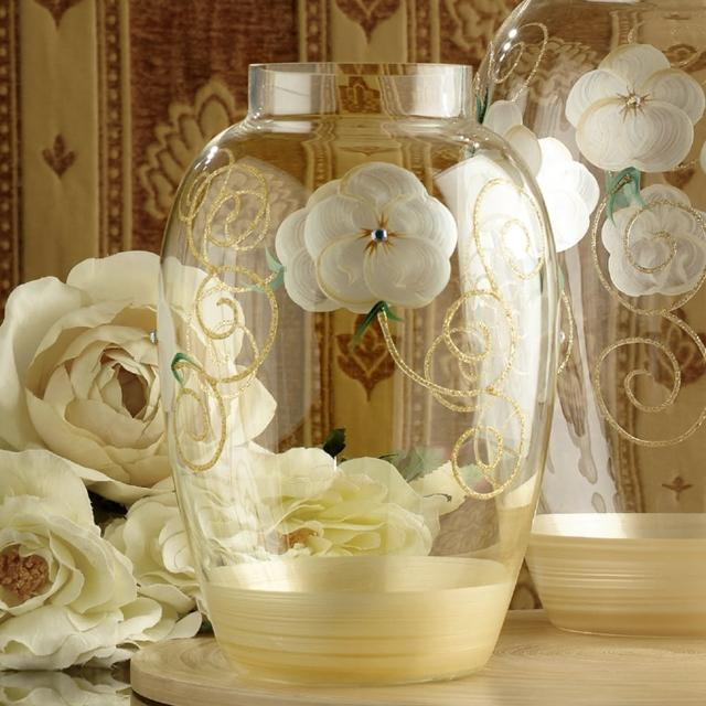 【Madiggan 貝斯麗】玫瑰系列手工彩繪橢圓花瓶-金色/小(特殊手工-假裂-逼真的破裂)