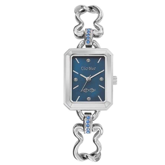 【CLIO BLUE】時尚小魚方型錶-藍色(法國巴黎品牌/925純銀)