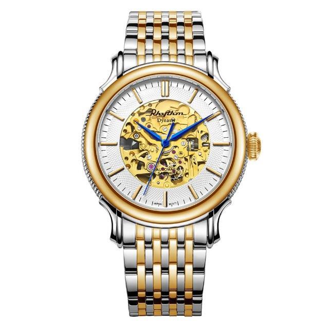 【RHYTHM 麗聲】現代鏤空設計自動機械腕錶A1510S02(金/不鏽鋼錶帶)