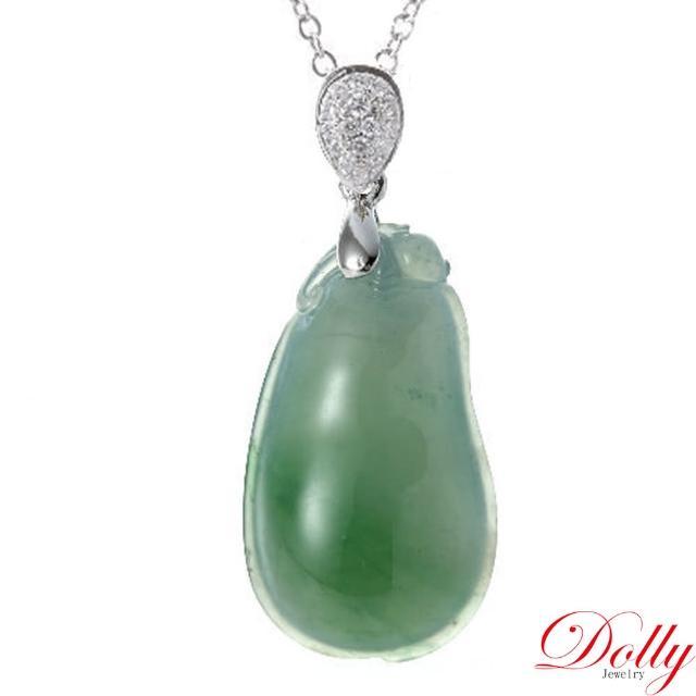 【DOLLY】緬甸 冰種飄綠翡翠 14K金鑽石項鍊(004)