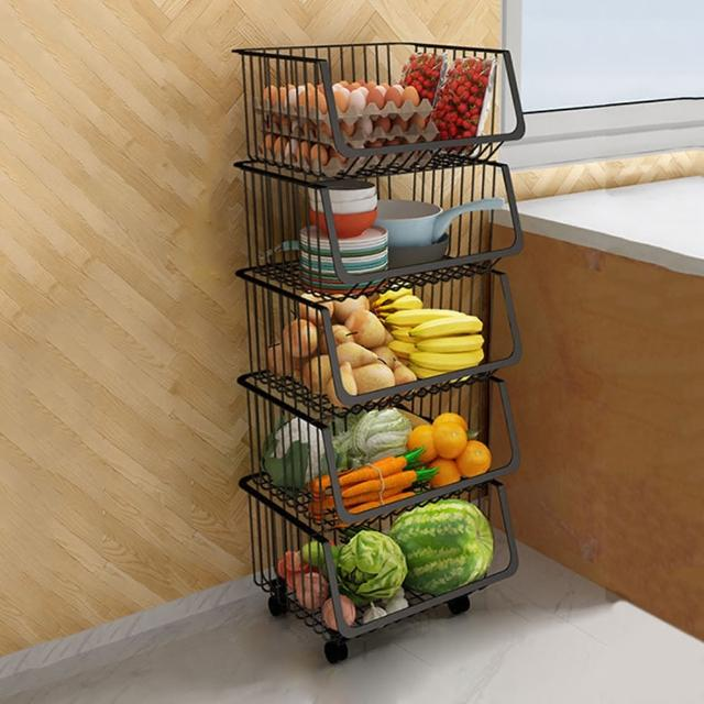 【HappyLife】可移動廚房收納籃 五層 Y10165(收納架 瓶罐收納 收納車 附輪收納車 置物架 廚房收納)
