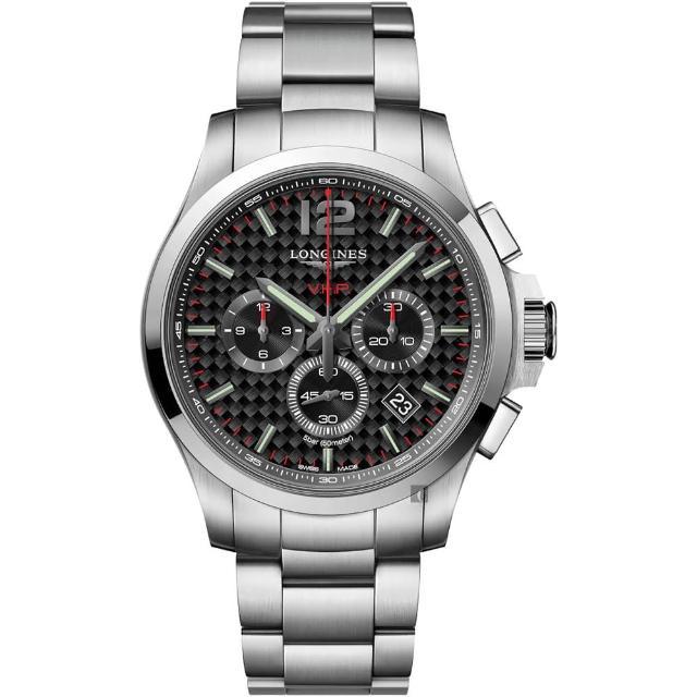 【LONGINES 浪琴】征服者系列V.H.P.萬年曆計時手錶-44mm(L37274666)