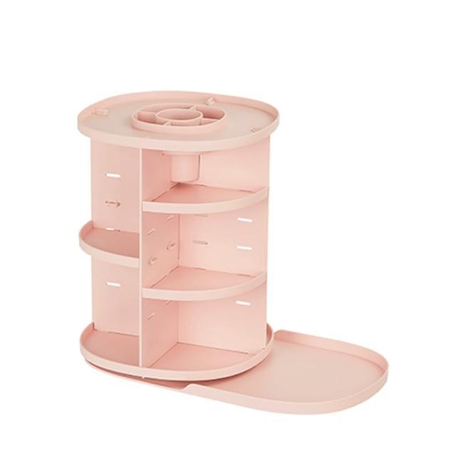 【LITEM 里特】360度旋轉桌上萬用收納架-粉(桌面整理/化妝品收納/抽屜收納盒/儲物櫃/開放式收納盒)