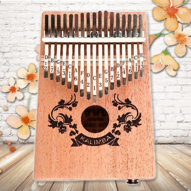【美佳音樂】Kalimba 卡林巴琴/拇指琴-超值全配.17音EQ桃花芯木單板-雙花雕刻(贈旅行包/音箱)