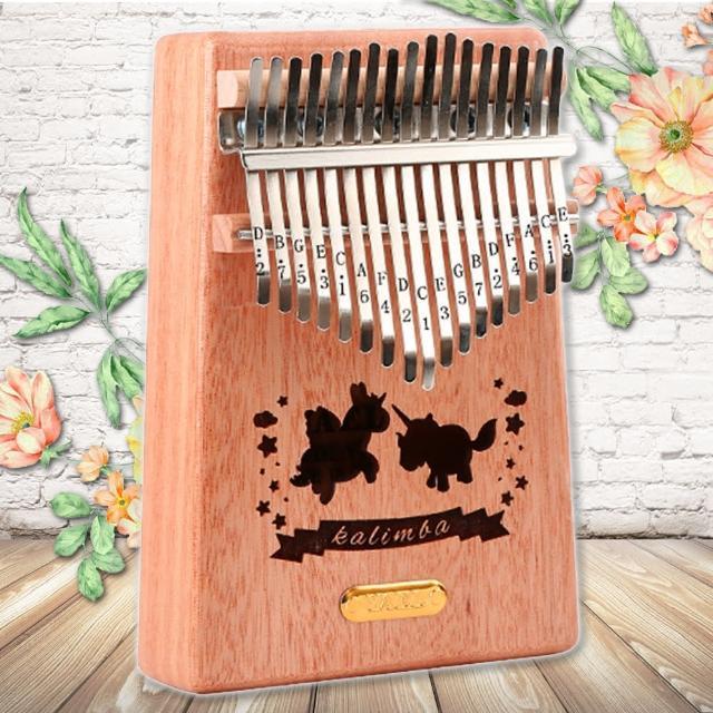 【美佳音樂】Kalimba 卡林巴琴/拇指琴-超值全配.17音桃花芯木單板-金標/獨角獸(贈旅行包)