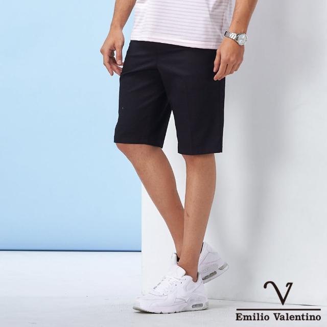 【Emilio Valentino 范倫鐵諾】經典彈力修身平面休閒短褲_丈青(70-1C5703)