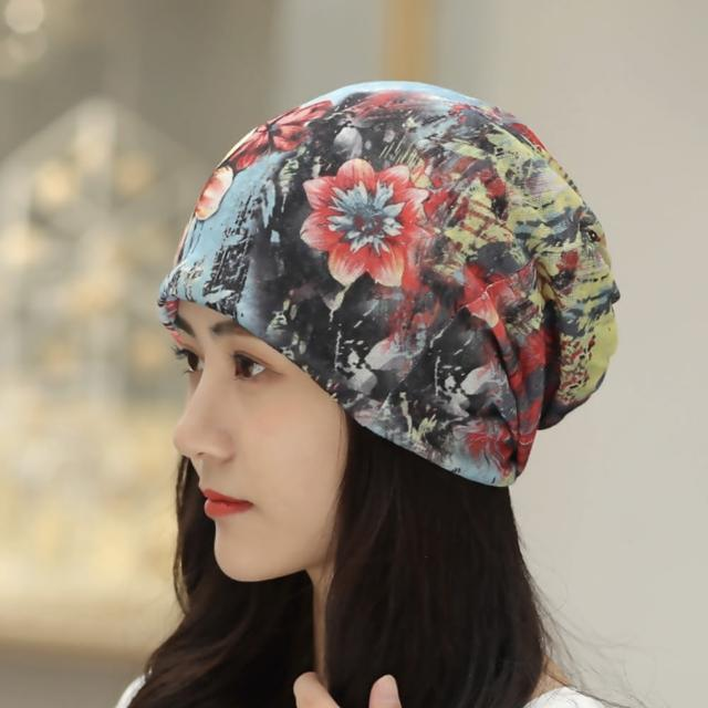 【89 zone】法式腰果花雙層透氣薄款套頭防風/頭巾帽(七彩花卉)