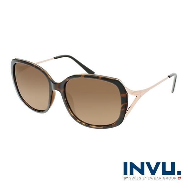 【INVU】瑞士線條感大框偏光太陽眼鏡(琥珀/玫瑰金 B2116B)