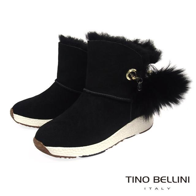 【TINO BELLINI 貝里尼】蓬球運動休閒鞋底雪靴TF8576(黑)