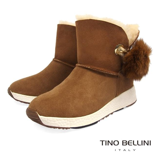 【TINO BELLINI 貝里尼】蓬球運動休閒鞋底雪靴TF8576(棕)