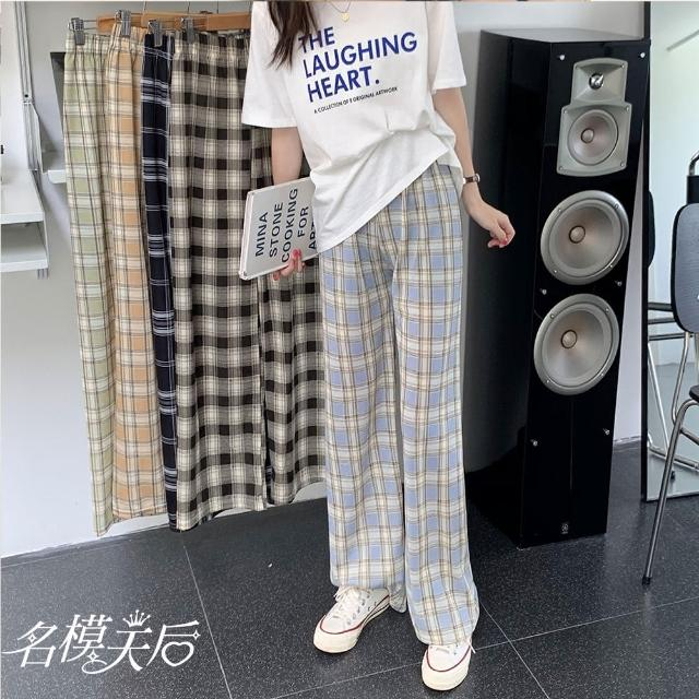 【名模天后】簡約修身時尚格紋造型寬褲(F)