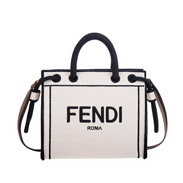 【FENDI 芬迪】新款刺繡FENDI ROMA帆布手提/斜背包(mini/米白)