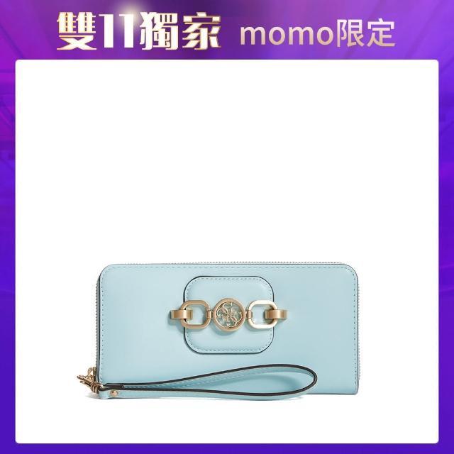 【GUESS】女夾-氣質金屬飾扣手拿長夾-藍(VS811346AQU)